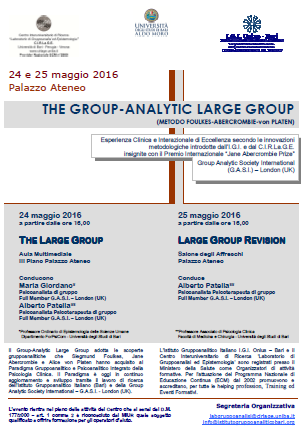 Manifesto Group-Analytic Large Group 24-25 maggio 2016